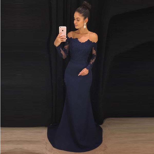 Off The Shoulder Navy Blue Formal Evening Gown Mermaid Prom Dress With Long Sleeve