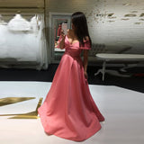 Princess Pink Prom Dress Off The Shoulder Formal Gown A Line Wedding Party Dress