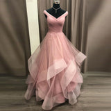 2019 Princess Prom Dress Off The Shoulder Formal Gown For Evening Layered Tulle Skirt