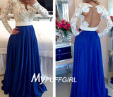 Long Sleeves Pearls Lace Prom Dress With Sheer Back , Covered Button