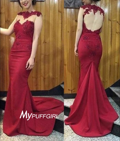 2016 Dark Red Open Back Satin Mermaid Prom Gown With Lace Appliques