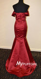 Red Off The Shoulder Satin Mermaid Prom Dress With Sweep Train