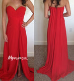Red Sweetheart Slit Chiffon Ruched Bodice Prom Dress ,Evening Gown