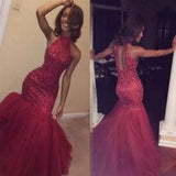 Beaded Burgundy Prom Dress Mermaid Formal Evening Gown With Keyhole Back