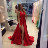 Sexy Red V Neck Formal Gown, Open Back Prom Dress With High Slit