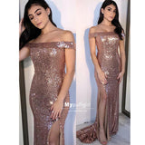 Brilliant Rose Gold Sequins Off-the-Shoulder Prom Dress, Evening Dress With Side Slit