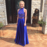 Royal Blue Satin High Neck Two-Piece Party Graduation Dresses, Long Prom Gowns With Beaded Bodice