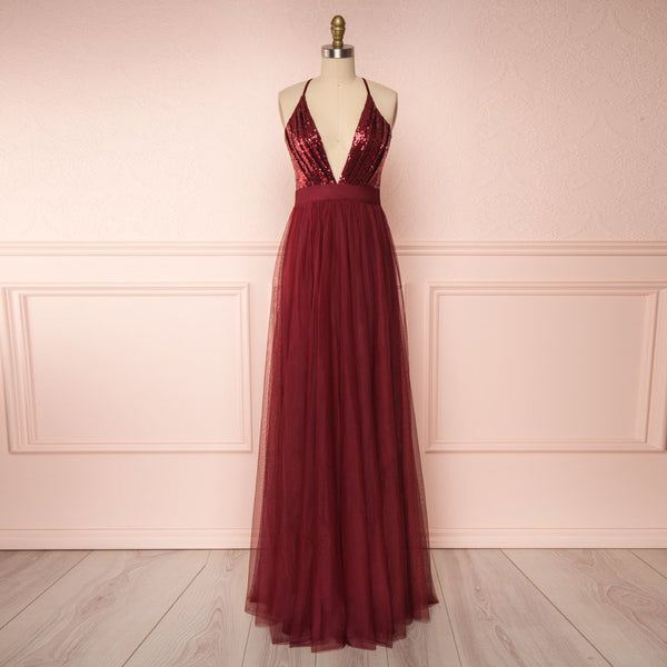 Sexy Maxi Long Party Dress For Juniors' Prom Deep V Neck Sequin Bodice Burgundy Open Back