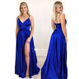 Sexy Royal Blue Spaghetti Strap Satin V-Neck Long Prom Dress With High Side Slit