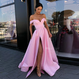 Sexy Long Pink Satin Off-the-Shoulder A Line 2019 Prom Gown, Evening Formal Dresses With High Slit