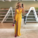 Sexy V Neck Formal Gown For Graduation Yellow Wedding Guest Dress High Slit