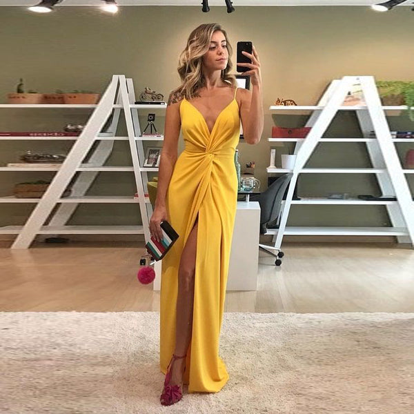 Evening Gowns For Wedding Guests: Sexy V Neck Formal Gown For Graduation Yellow Wedding