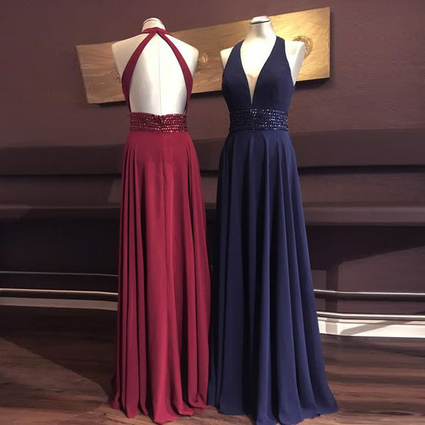 Sexy V Neck Halter Prom Dress Sleeveless Open Back Long Evening Dress Beaded Waist