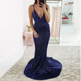 Sexy V Neck Prom Dress Sequin Mermaid Evening Dress For Formal Dance Navy Blue Open Back