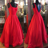 Vintage Red Satin A Line Long Prom Dresses, Elegant Evening Party Dresses, Open Back Ball Gown