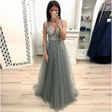Sleeveless V Neck Formal Gown For Senior Prom Beaded Evening Dress Grey Tulle