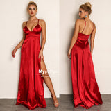 2019 Spaghetti Straps Red Silk Satin V-Neck Long Prom Maxi Dress With Side Slit Open Back