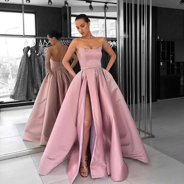 Strapless Prom Dress A Line Rose Pink Long Formal Gown Party Dress With High Slit