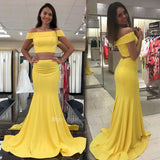 Two-Piece Yellow Satin Off The Shoulder Mermaid Prom Gowns, Evening Party Dresses With Long Train