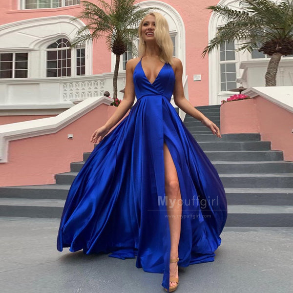 2019 V-Neck Royal Blue Long Prom Dress, Spaghetti Strap Evening Formal Dresses With High Slit Pockets