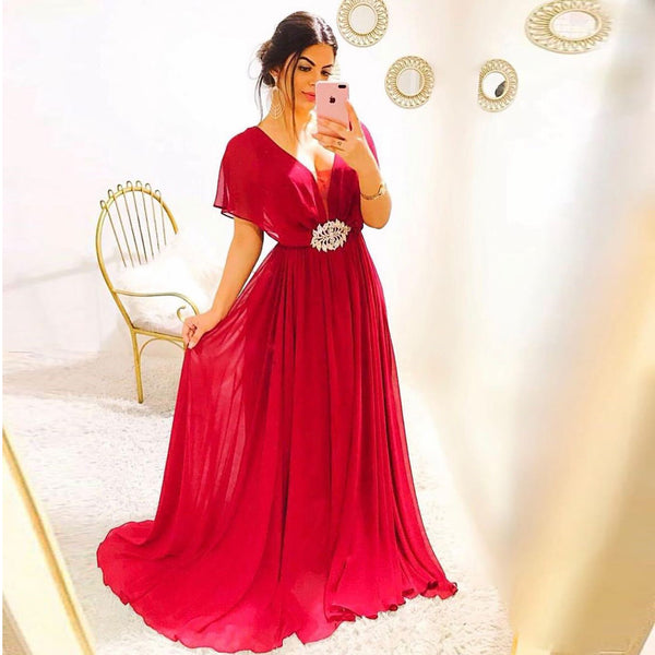 V Neck Formal Gown For Women Evening Cap Sleeves Chiffon Long Red Beaded Waist