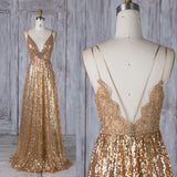 V Neck Prom Dress Sequin Gold Formal Evening Gown Open Back Bridesmaid Dress Sleeveless