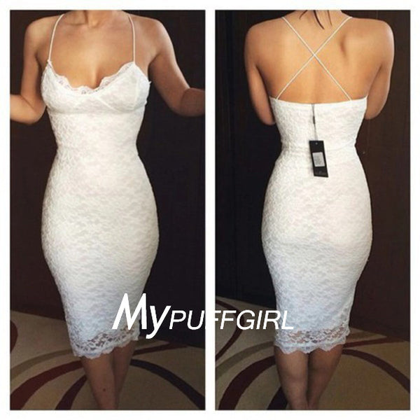 Fitted White Soft Lace Cocktail Party Dress With Spaghetti Straps