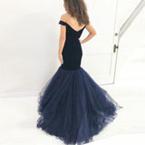 Navy Blue Mermaid Formal Evening Gown Off The Shoulder Prom Dress With Tulle Skirt