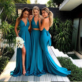 New Sexy Deep V Neck Bridesmaid Dress Teal Open Back Formal Gown With Side Slit