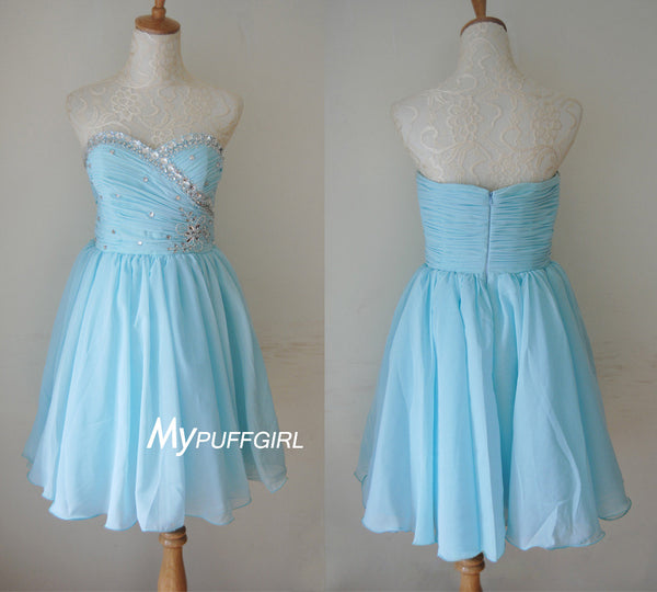 Light Blue Sweetheart Chiffon Cocktail Party Dress With Beaded Ruched Bodice