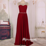 Wine Red Bateau Illusion Ruched Boidce Chiffon Prom Dress With Crystals