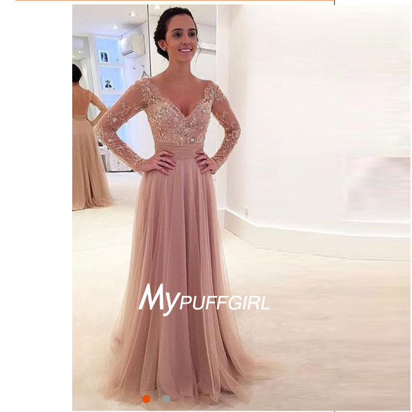 Sheer Long Sleeves V Neck Formal Gown , Beaded Lace Appliques Prom Dress