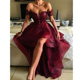 Burgundy Off The Shoulder Prom Dress, Homecoming Dress High Low Skirt