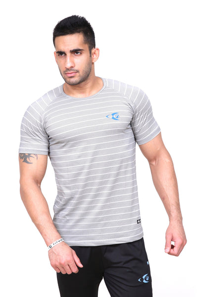 Fitwolf Atlas T-Shirt - Striped Grey