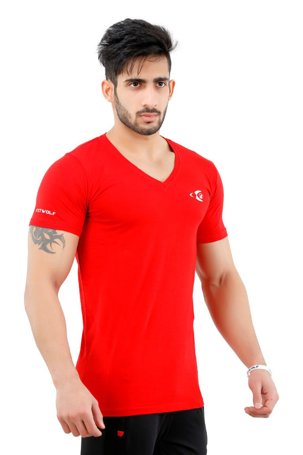 Fitwolf Classic V-neck T-shirt - Red