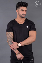 Fitwolf Eaze V-neck T-shirt- Black
