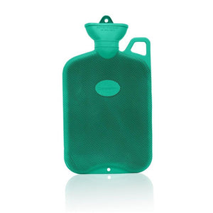 Green Crocus Coronation 2 Litre rib 1 sides Rubber hot water bottle with carry handle
