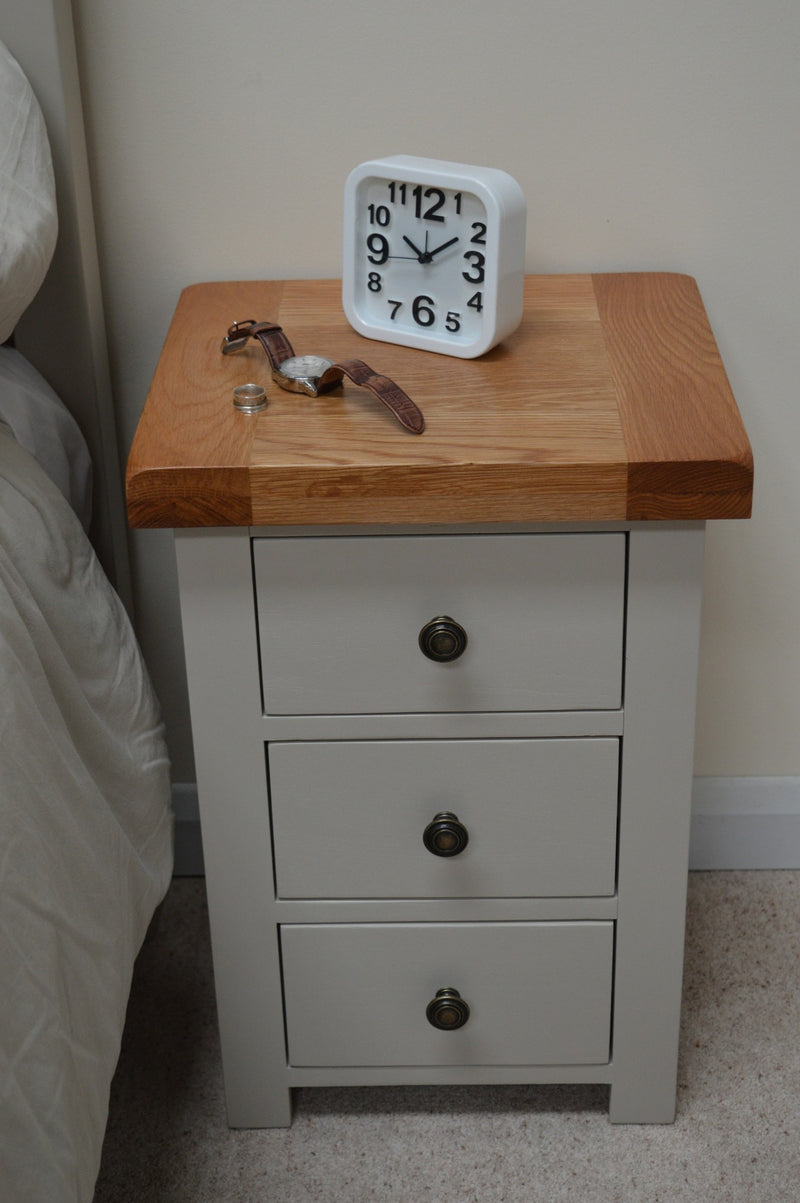 Bishop Painted Oak 3 Drawer Bedside Cabinet