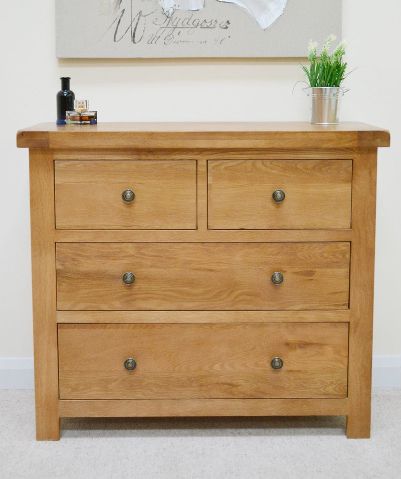 Canton Oak 4 Drawer Chest Of Drawers (2 Over 2)