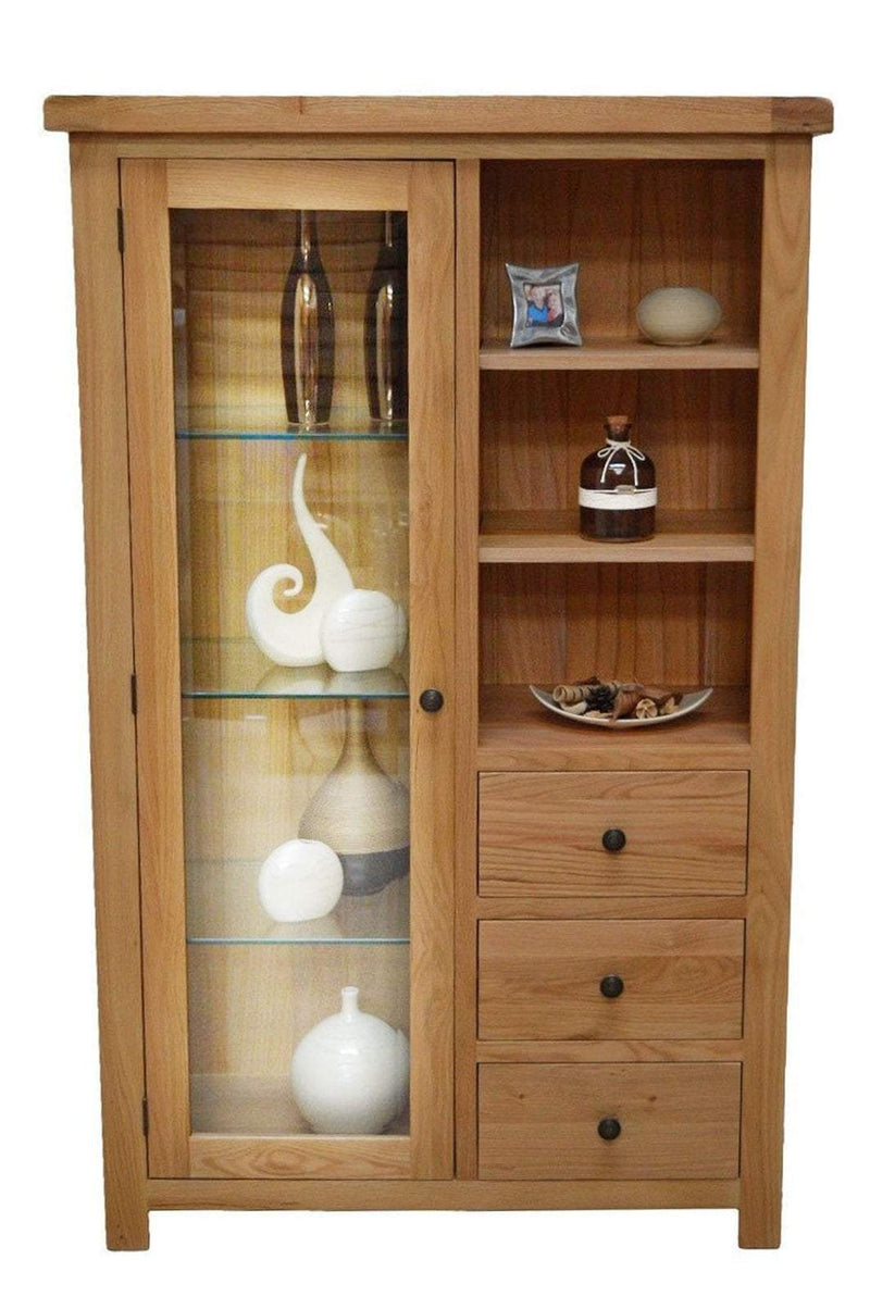 Canton Oak Combination Display Cabinet With Storage And Glass Door