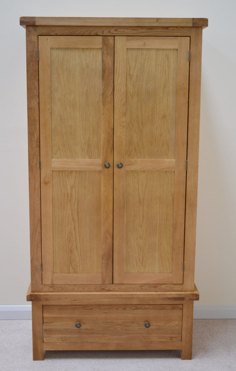 Canton Oak Double Wardrobe with Storage Drawer