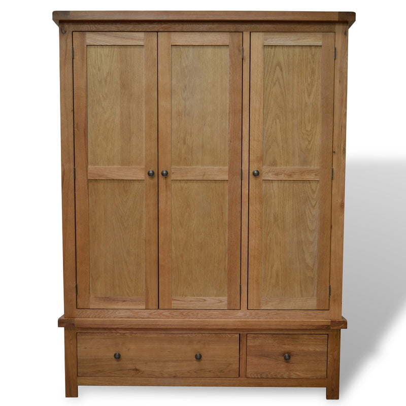 Canton Oak Triple Wardrobe with Storage Drawers
