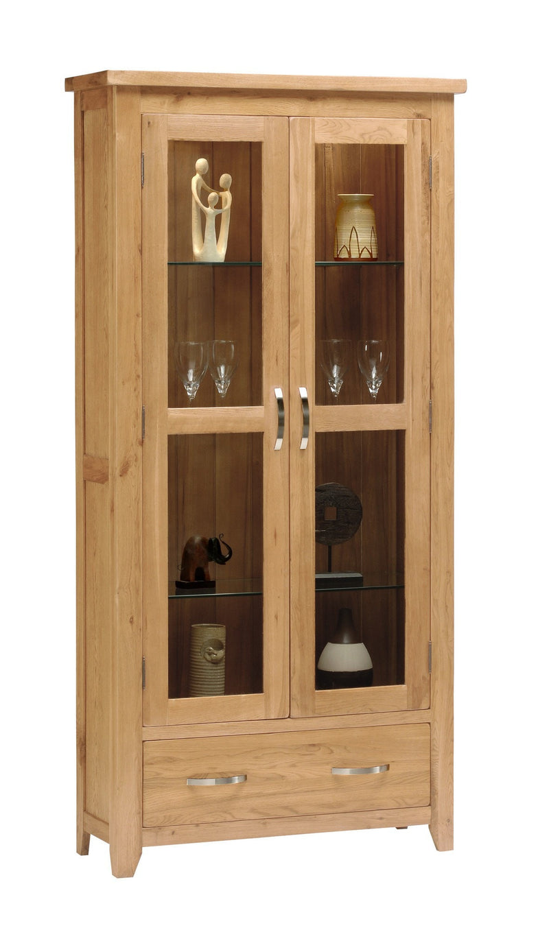 Hampshire Oak 2 Door Glass Display Unit