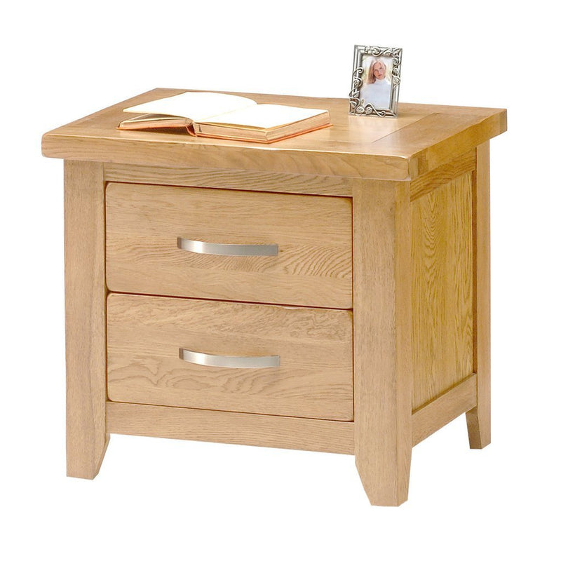 Hampshire Oak 2 Drawer Bedside Table