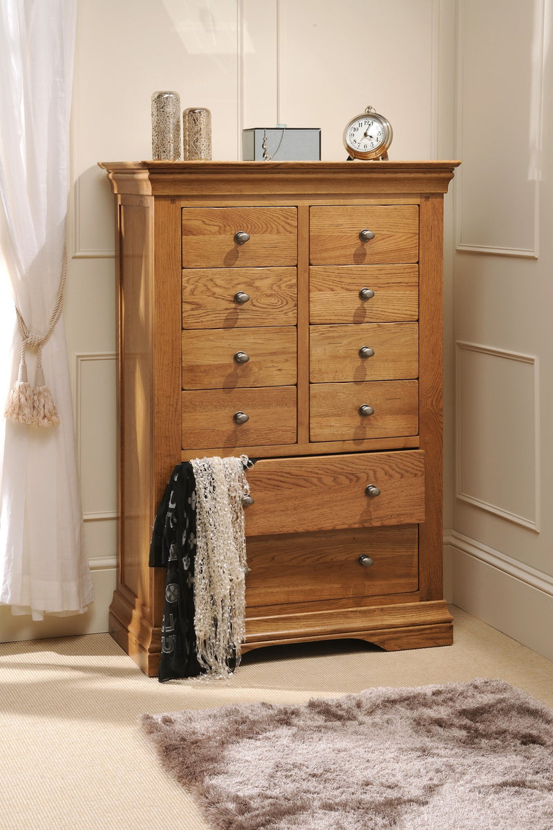 Hampton Oak 8 Over 2 Chest Of Drawers