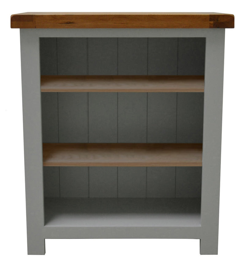 Milton Painted Oak Low Bookcase / Shelving Unit