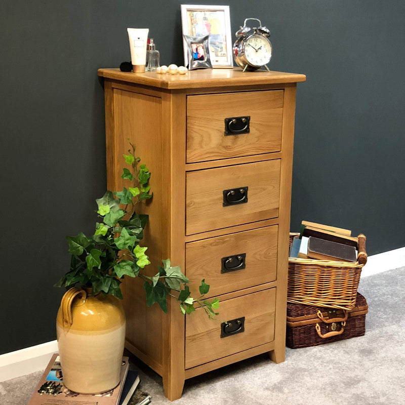 Newark Oak 4 Drawer Narrow Chest of Drawers