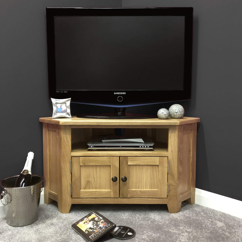 Newark Oak Corner TV Unit Stand
