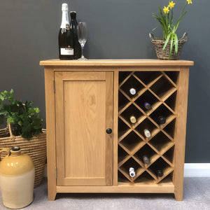 Newark Oak Wine Rack Cabinet