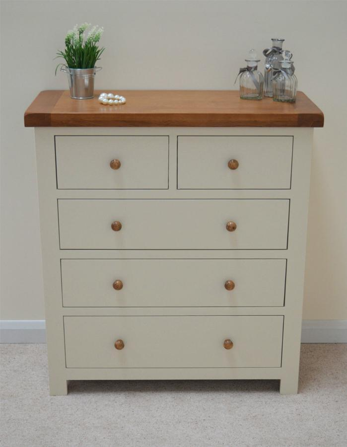 Thornton Painted 5 Drawer wide Chest of Drawers (2 Over 3)